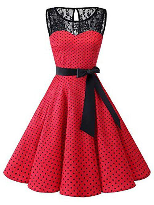 Discount Polka Dot Lace Panel Plus Size Vintage Dress