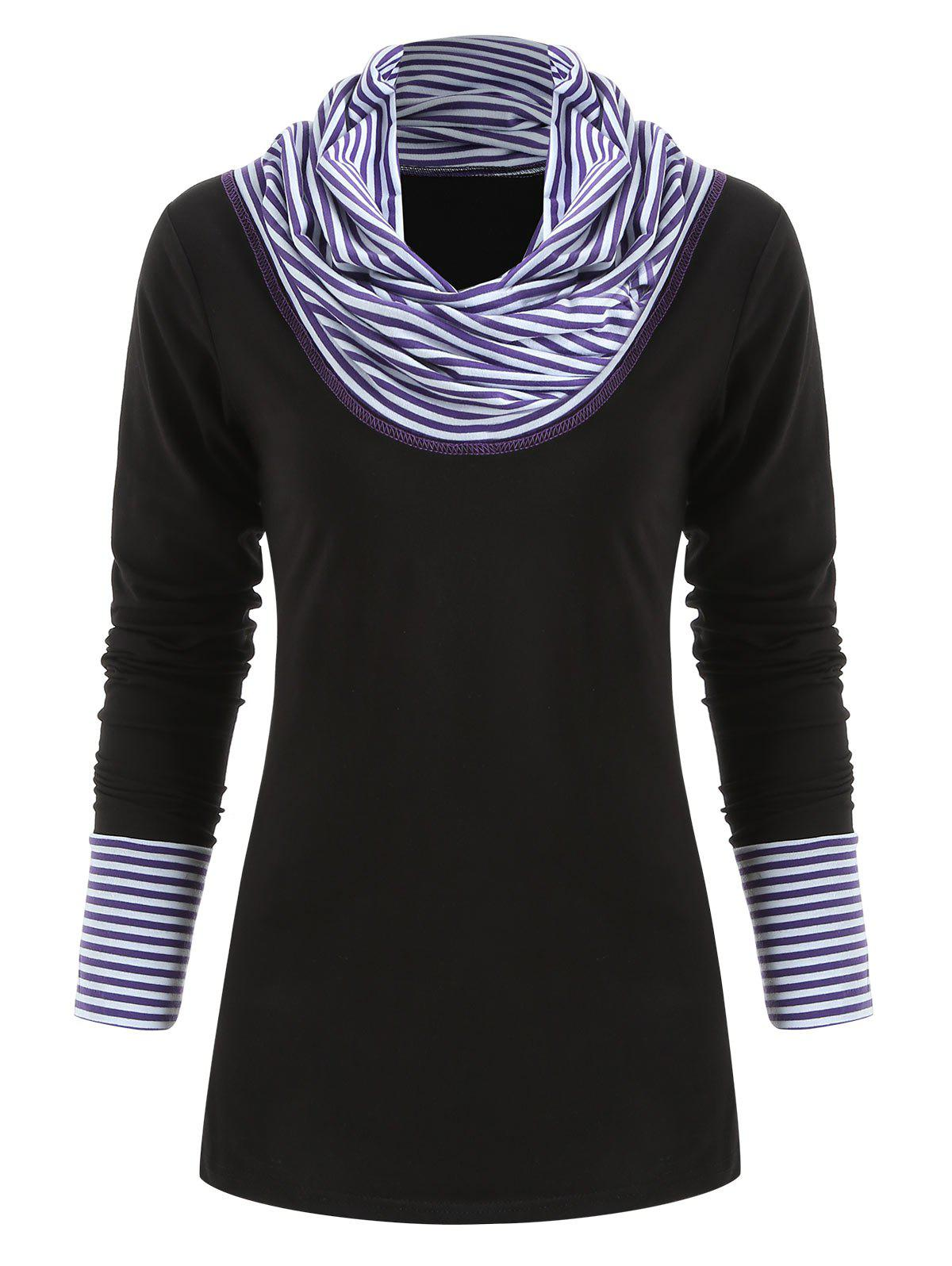 New Striped Panel Long Sleeve Top