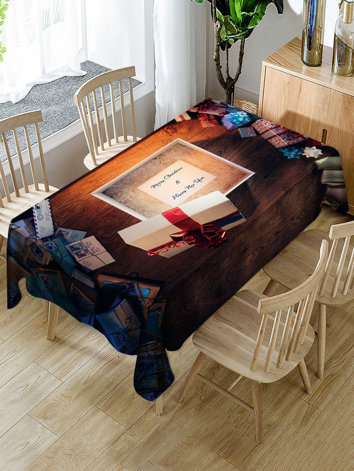 Trendy Christmas Gifts and Letters Print Table Cloth