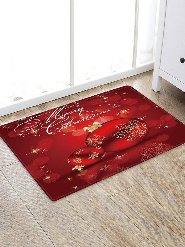 Discount Merry Christmas Balls Pattern Water Absorbing Area Rug