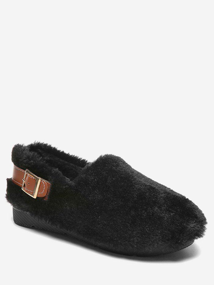 Discount Contrast Buckle Fuzzy Loafer Shoes