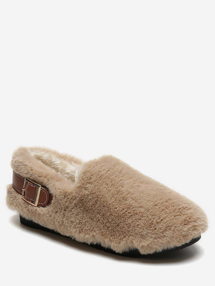 Cheap Contrast Buckle Fuzzy Loafer Shoes