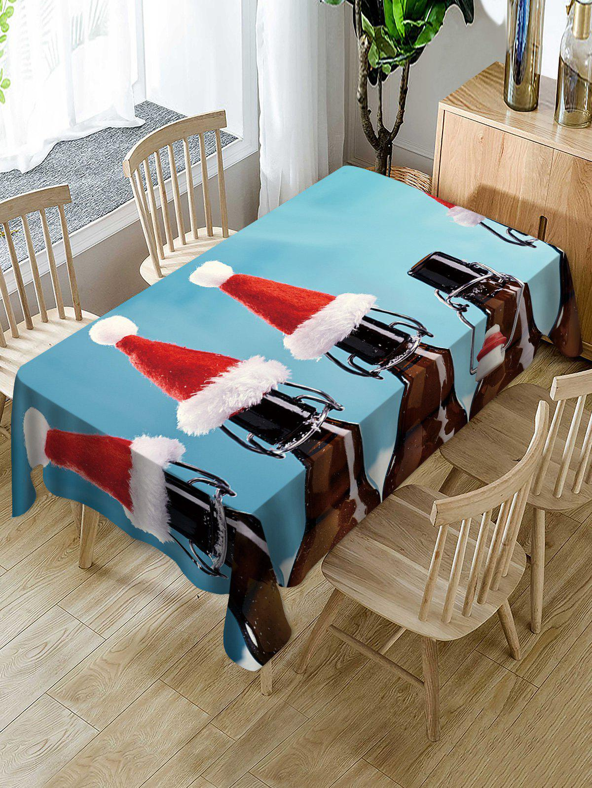 Trendy Christmas Caps Print Table Cloth