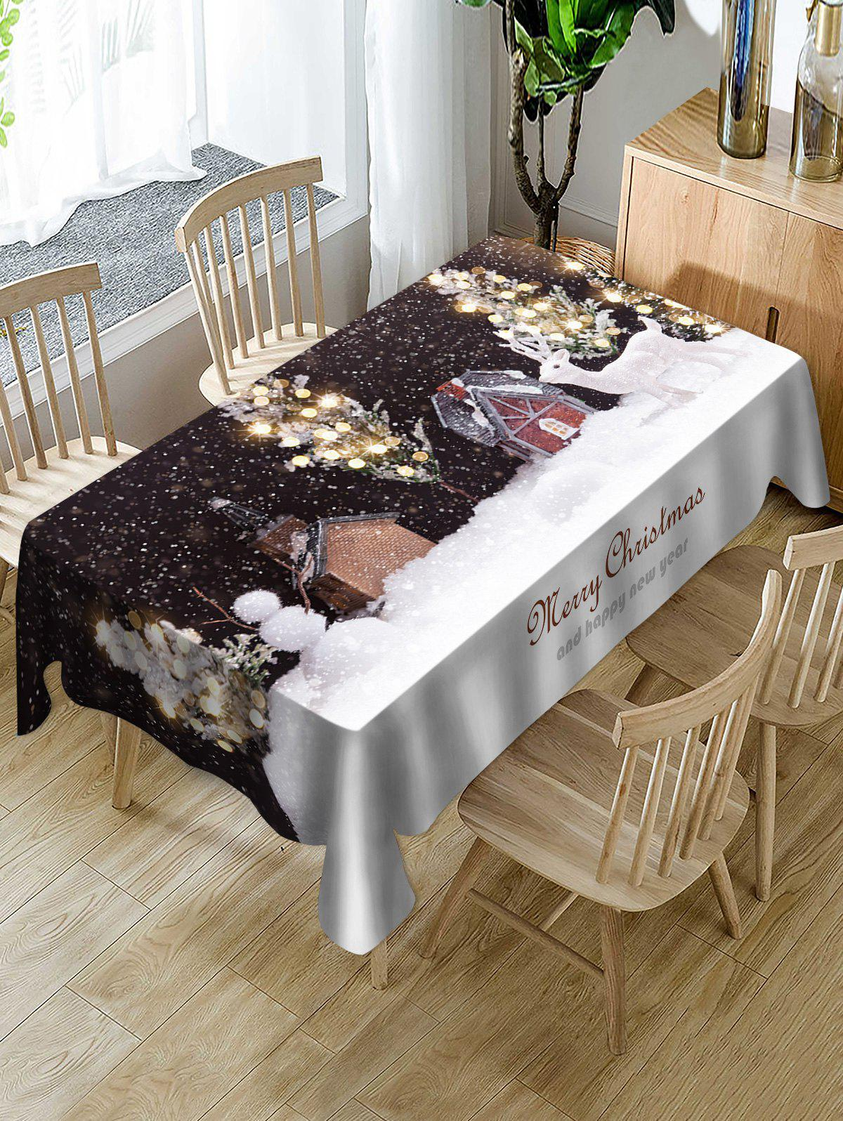 Unique Christmas Night Snow Scenery Print Table Cloth