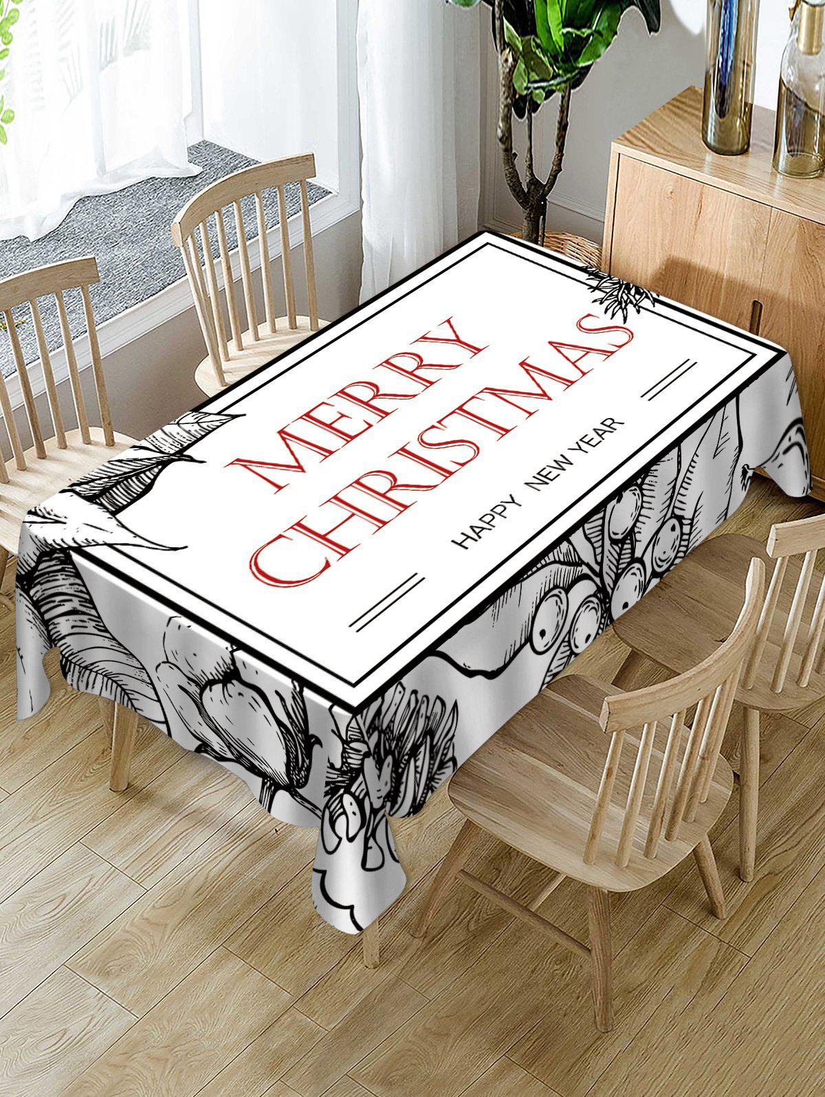 Best Geometric Pattern Christmas Letters Print Table Cloth