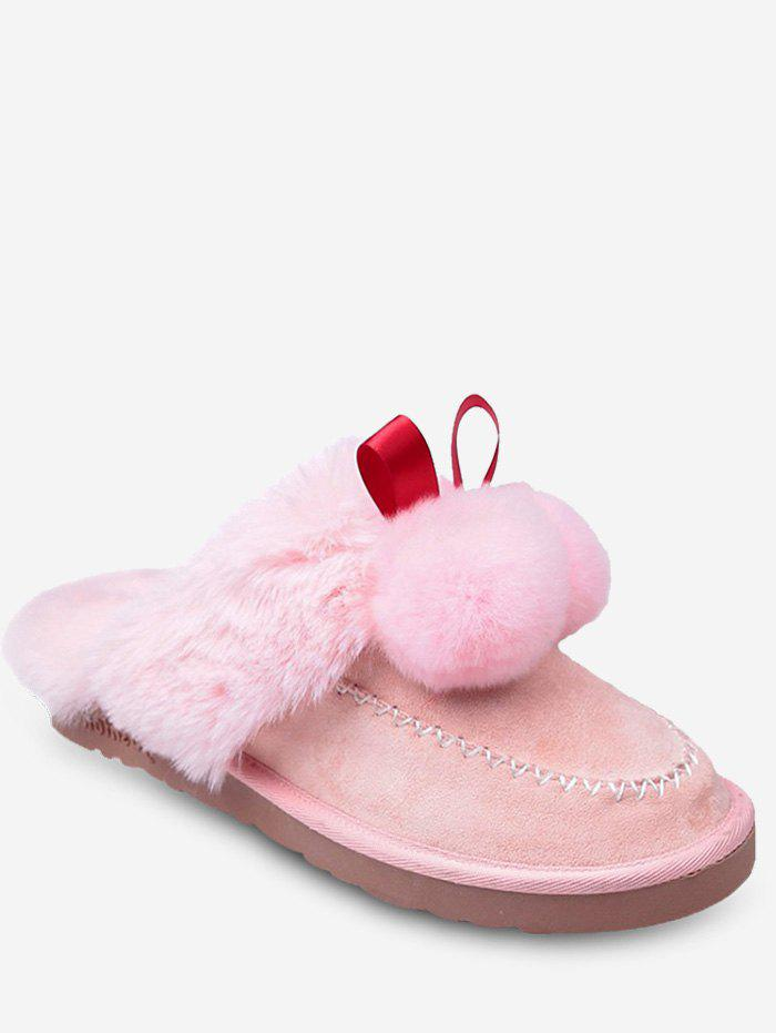 Cheap Fuzzy Ball Suede Faux Fur Slippers
