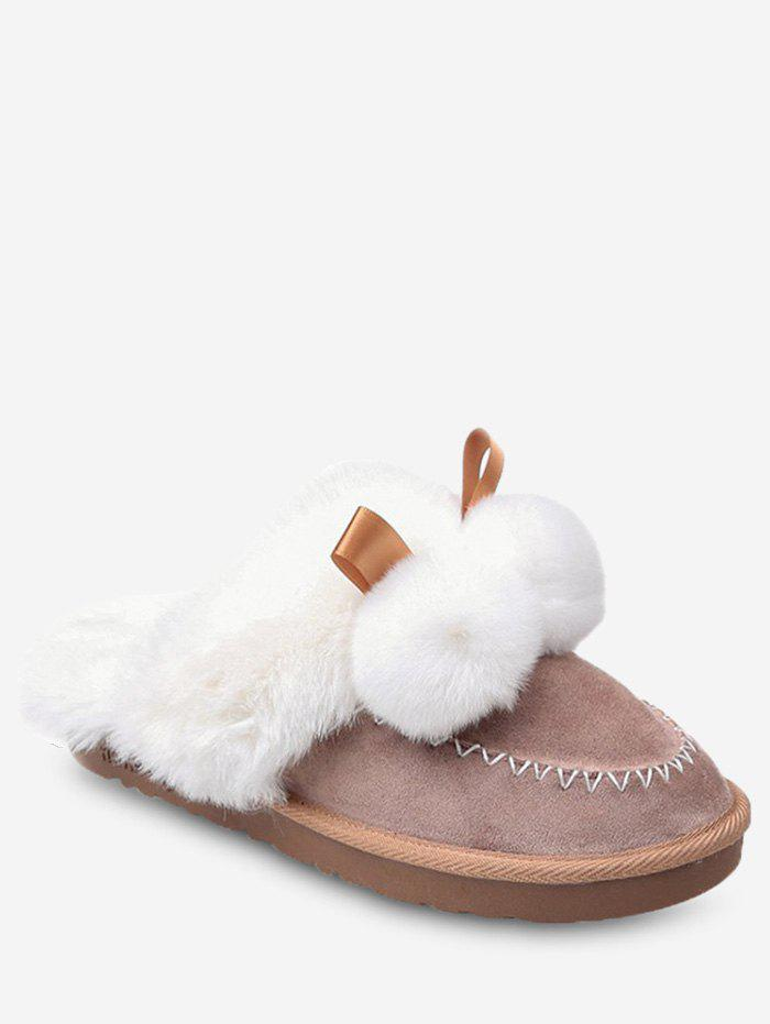 Sale Fuzzy Ball Suede Faux Fur Slippers