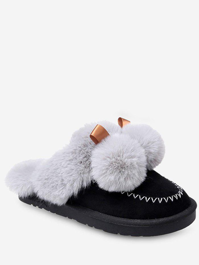 Latest Fuzzy Ball Suede Faux Fur Slippers