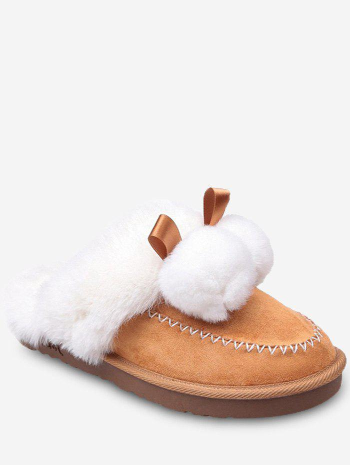 Online Fuzzy Ball Suede Faux Fur Slippers