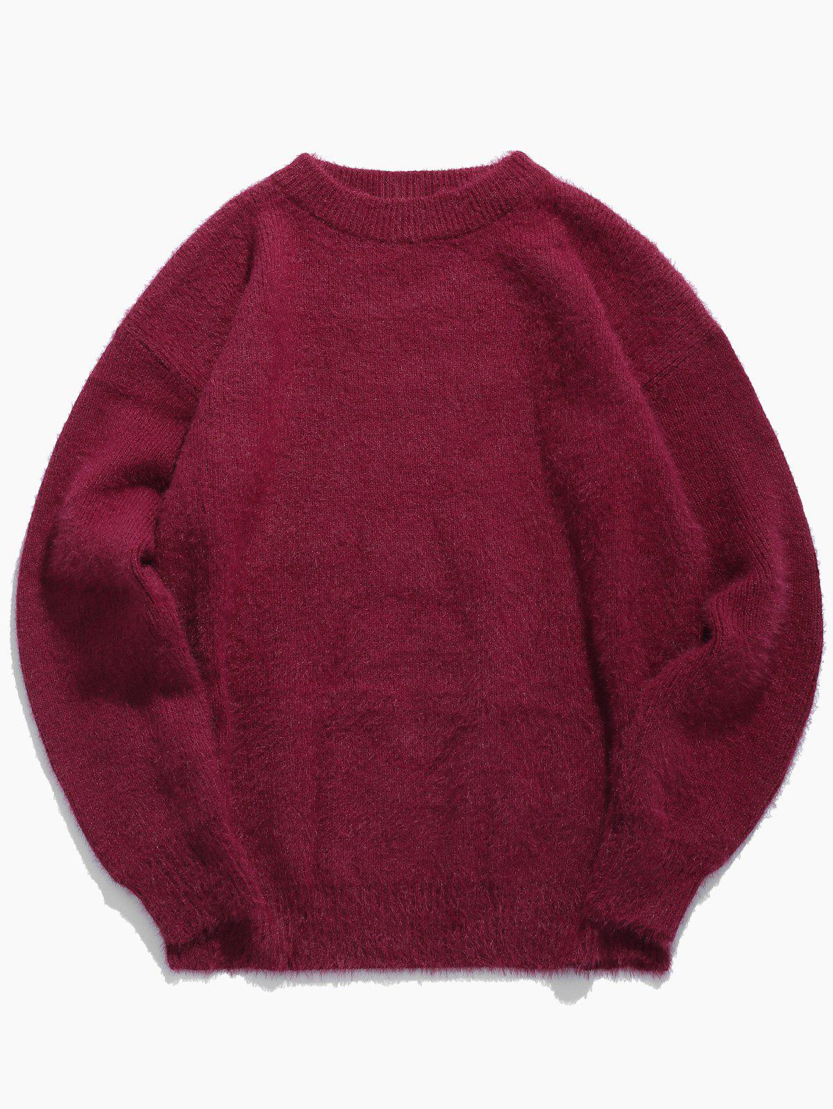 Unique Solid Color Round Collar Mohair Sweater
