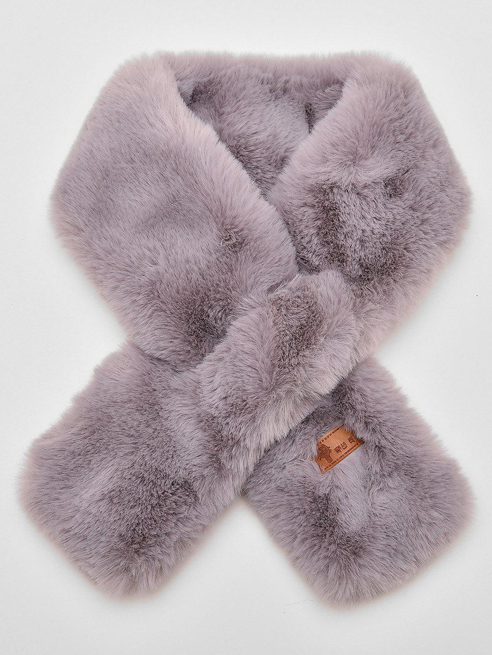 Trendy Solid Color Winter Faux Fur Scarf