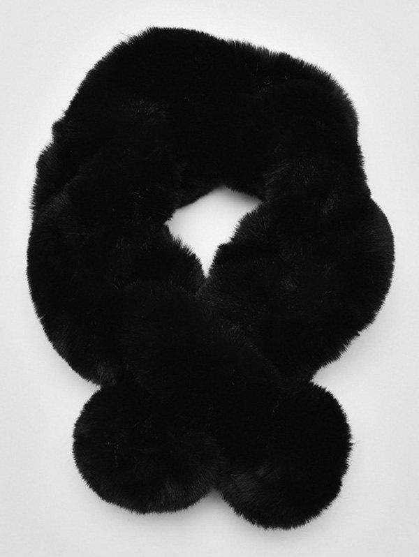 Store Solid Color Faux Fur Winter Scarf