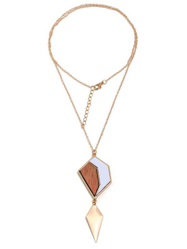 Chic Wooden Geometric Pendant Long Necklace