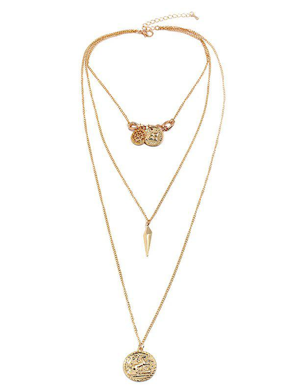 Fancy Meta Coin Shape Multilayered Drop Necklace