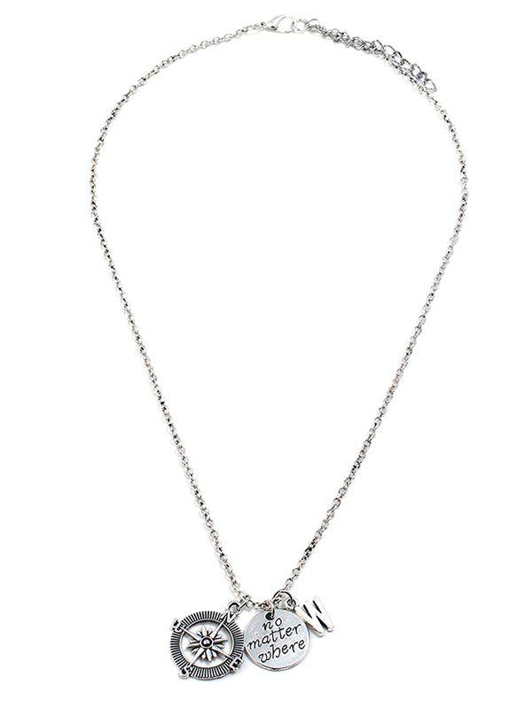 Outfit Anchor Shape Letter Print Long Chain Necklace