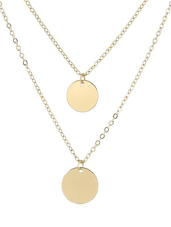 Cheap Simple Round Disc Shape Layered Necklace