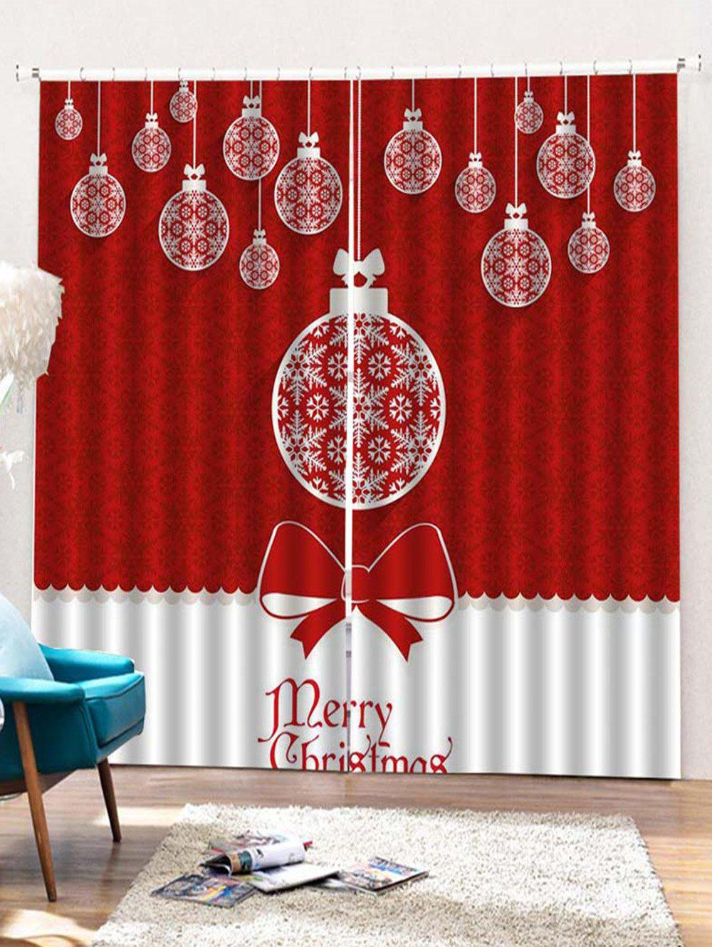 Cheap 2 Panels Christmas Balls Bowknot Print Window Curtains