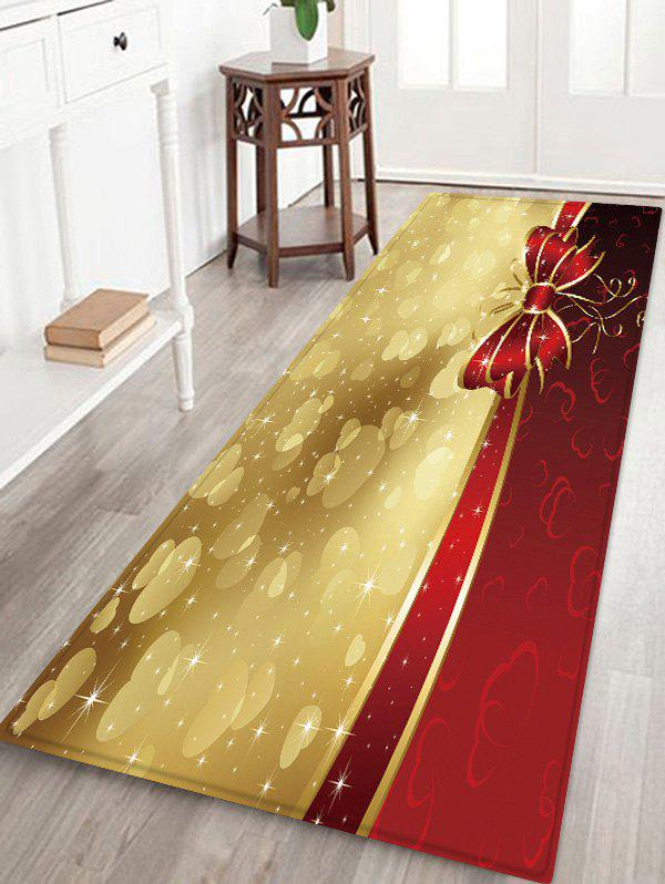 Outfit Christmas Bowknot Hearts Pattern Water Absorption Area Rug