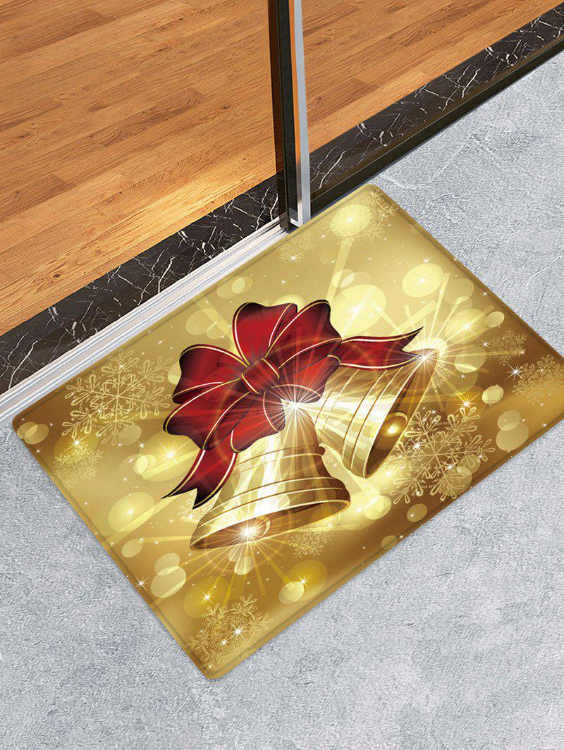 Fashion Christmas Bowknot Bells Pattern Water Absorbing Floor Rug