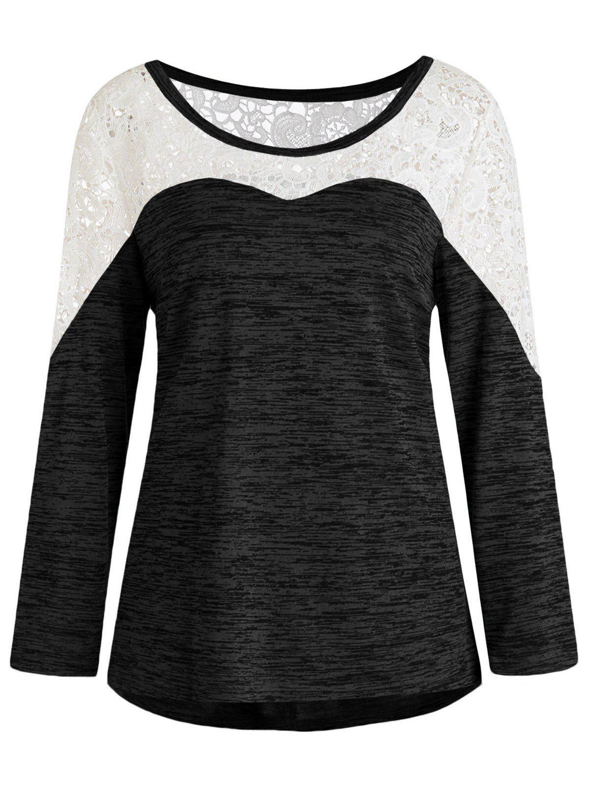 Hot Plus Size Lace Spliced Asymmetric Long Sleeves Tee