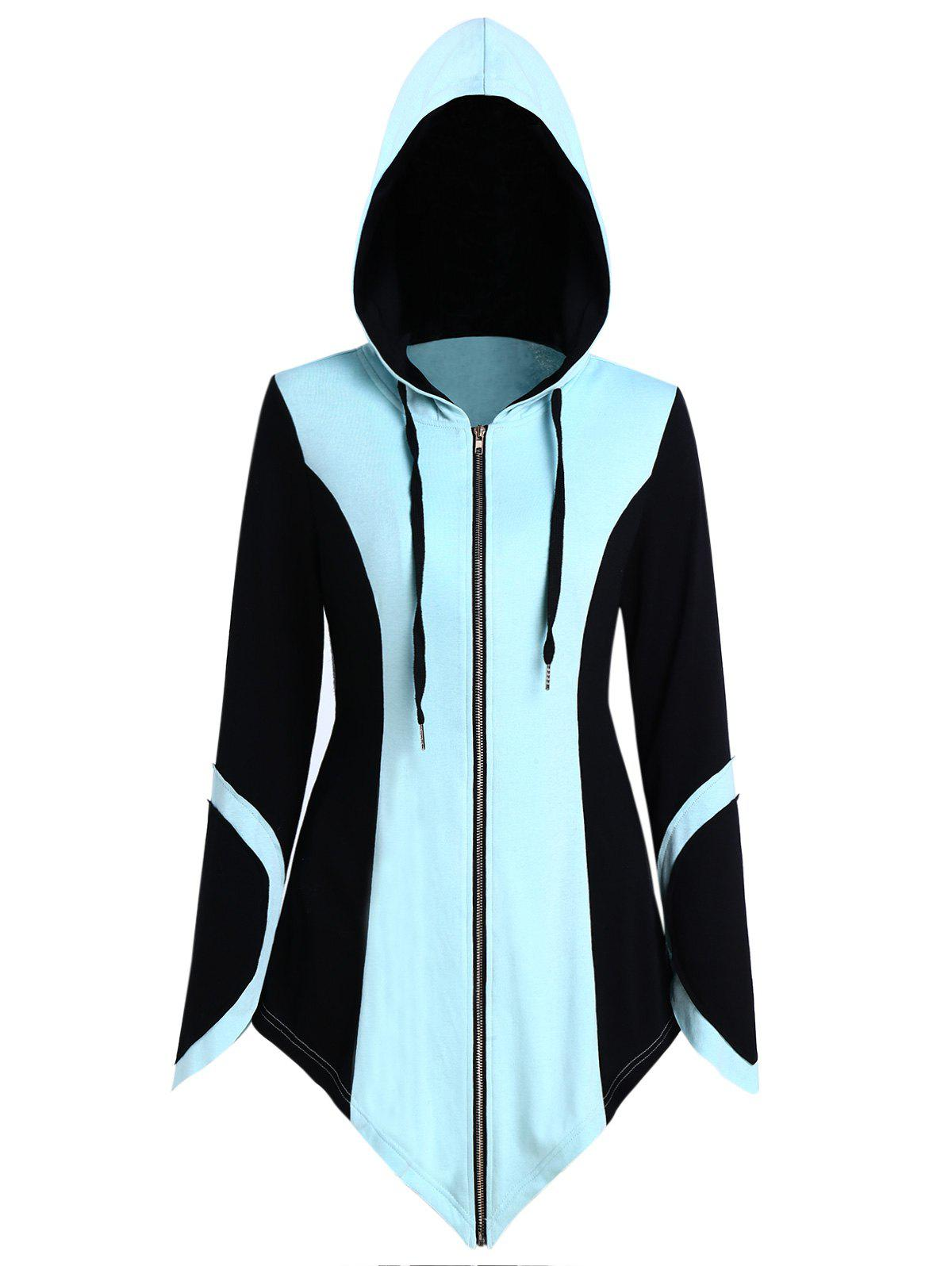Cheap Color Block Drawstring Asymmetric Zip Up Hoodie