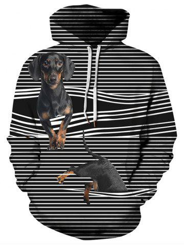 Dogs Stripes Print Pullover Hoodie