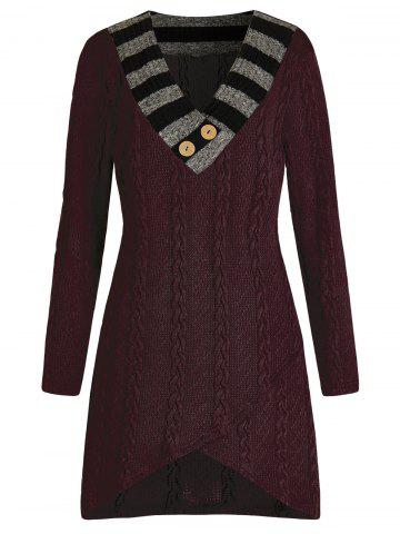 Plus Size Asymmetric Cable Knit Longline Sweater - RED WINE - 4X