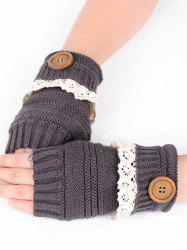 Lace Button Semi-full Finger Knitted Gloves -