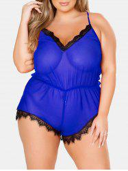 Plus Size Lingerie Sheer Contrast Romper with Lace -
