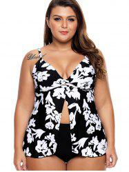 Front Slit Plus Size Printed Tankini Set -