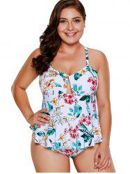 Plus Size Ruffle Trim Print Swimwear -