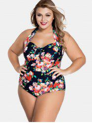 Backless Plus Size Floral Print Swimwear -