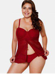 Front Slit Plus Size Underwire Tankini Set -