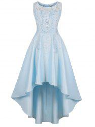 Lace Insert High Low Maxi Party Dress -