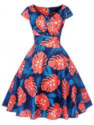Tropical Print Fit and Flare Dress -
