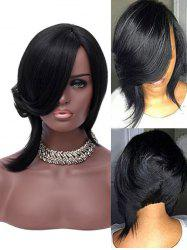 Inclined Bang Short Asymmetric Straight Synthetic Wig -