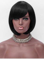Oblique Bang Capless Short Straight Synthetic Wig -