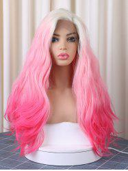 Long Side Parting Colorful Corn Hot Wavy Christmas Synthetic Lace Front Wig -