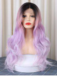 Christmas Long Middle Parting Colorful Layer Wavy Synthetic Lace Front Wig -