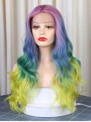 Christmas Long Middle Part Colorful Rainbow Wavy Synthetic Lace Front Wig -