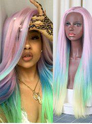 Christmas Long Colorful Rainbow Straight Synthetic Lace Front Wig -