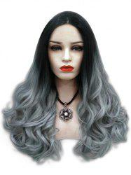 Center Parting Ombre Long Wavy Cosplay Synthetic Wig -