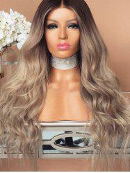 Synthetic Center Parting Colormix Long Wavy Wig -