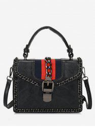 Navy Striped Pattern Metal Hasp Tote Bag -