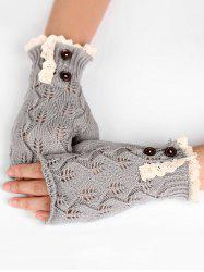 Buttons Lace Fingerless Gloves -
