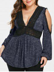 Plus Size Plunge Cold Shoulder Marled T-shirt -