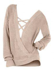 Plus Size Drop Shoulder Criss Cross Slit Sweater -