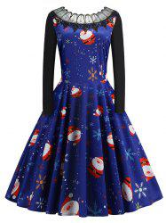 Plus Size Vintage Lace Panel Christmas Graphic Flare Dress -