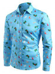 Christmas Tree Printed Turn Down Collar Shirt -