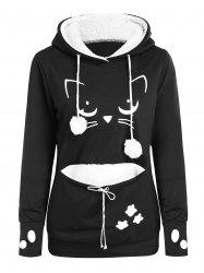 Faux Fur Lined Graphic Hoodie -